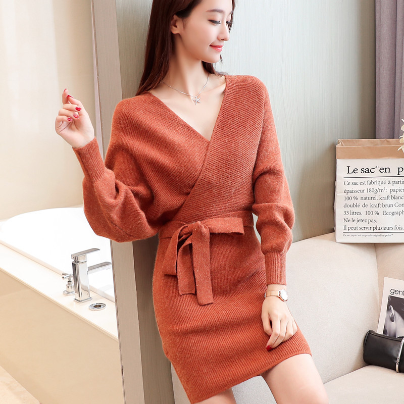 Korean-women-knitting-pattern-sweater-dress-2018.jpg